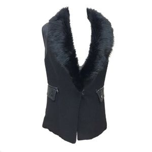 Forever 21 Faux Fur Leather Panel Trim Vest S